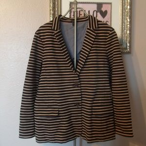 J Crew Black/Tan Maritime Stripe Stretch Blazer